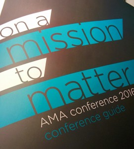 "portada del programa de la AMA Conference 2016: ""on a mission to matter"" © Pepe  Zapata"