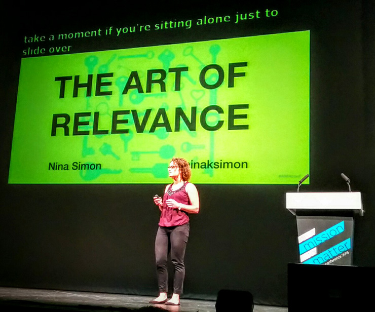 "Nina Simon en la keynote inaugural de la AMA Conference 2016: ""The Art of Relevance"". © Pepe Zapata"